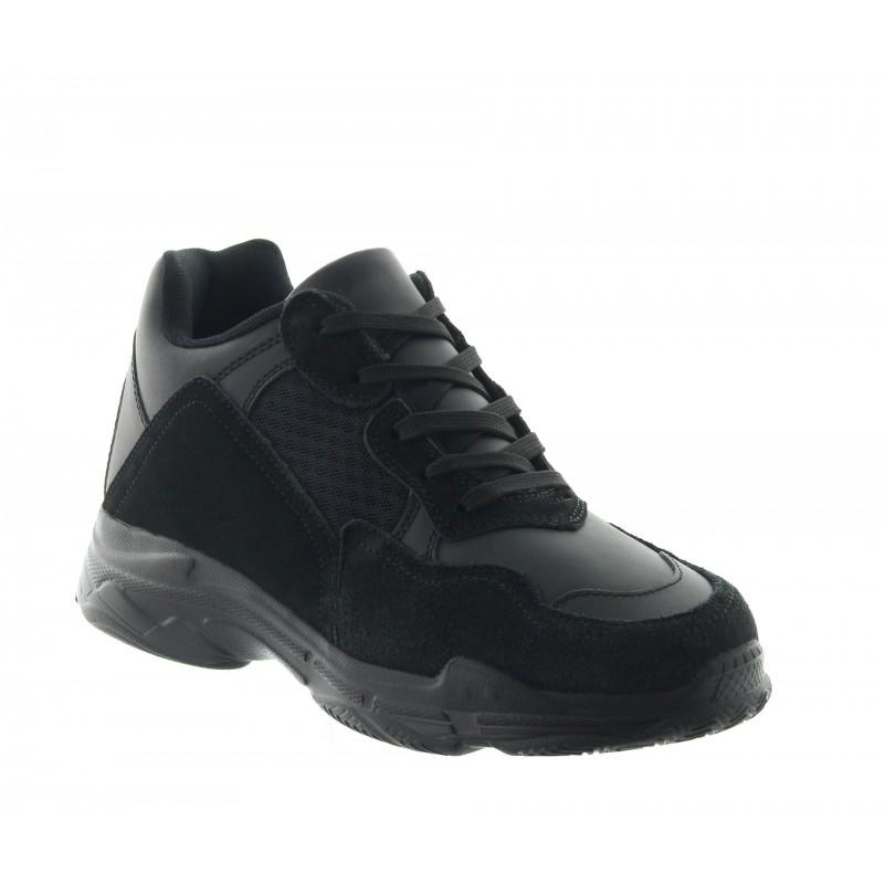 Height Increasing Sports Shoes Men - Black - Leather/nubuck/mesh - +2.8'' / +7 CM - Sestino - Mario Bertulli