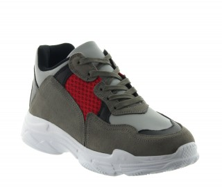 Height Increasing Sports Shoes Men - Gray - Leather/nubuck/mesh - +2.8'' / +7 CM - Sestino - Mario Bertulli