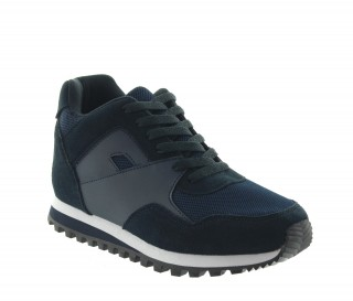 Height Increasing Sports Shoes Men - Navy blue - Leather/nubuck/mesh - +2.8'' / +7 CM - Pelago - Mario Bertulli