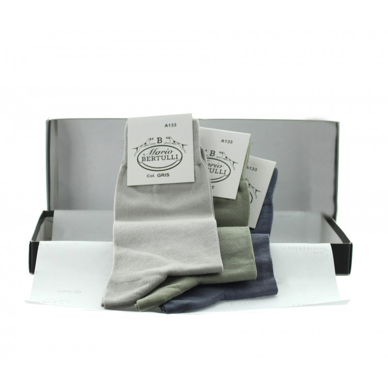 3 pairs socks box - grey/green/light grey - Luxury Packs of Socks from Mario Bertulli - specialist in height increasing shoes