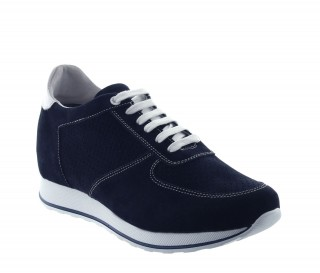 Height Increasing Sneakers Men - Navy blue - Daim - +2.8'' / +7 CM - Camaiore - Mario Bertulli