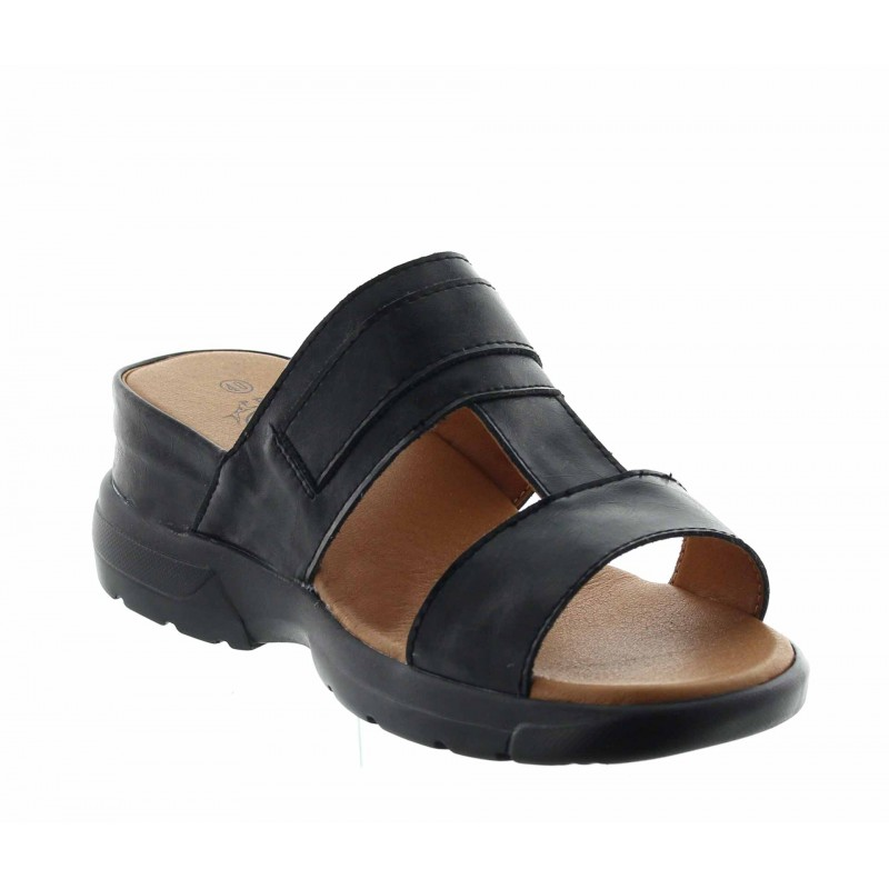 sandales compensées Homme - Noir - Cuir - +5,5 CM - Apricena - Mario Bertulli