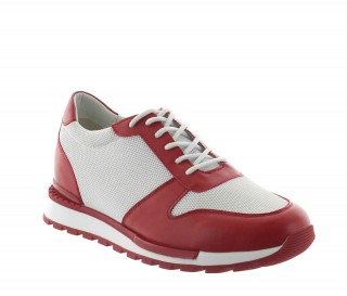 Sneakers rehaussantes Sirmione rouge/blanc +7cm