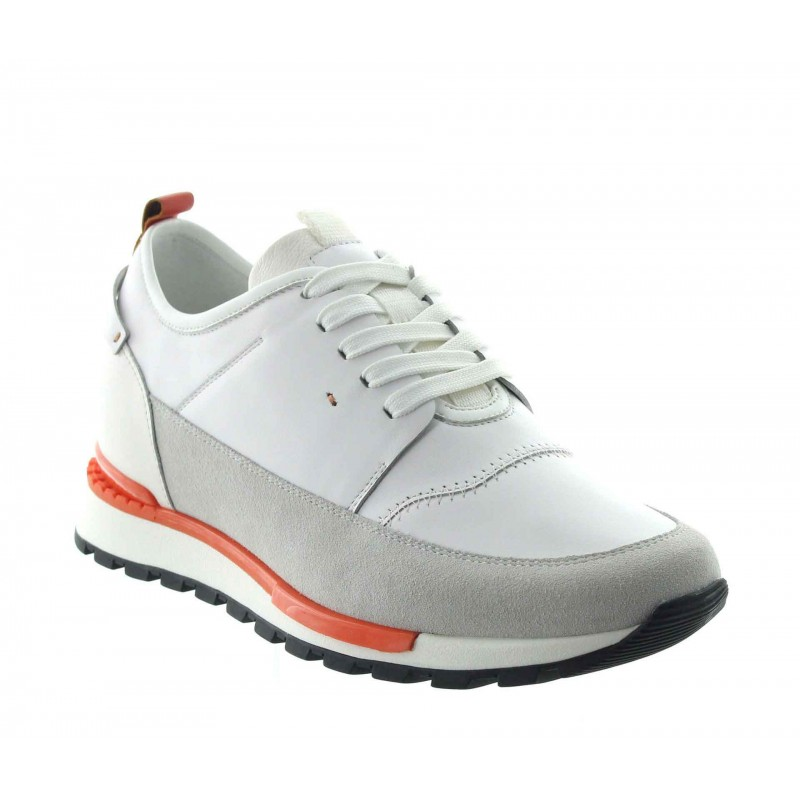 sneaker a talon compensé Homme - Blanc - Nubuck / Cuir - +7 CM - Peschici - Mario Bertulli