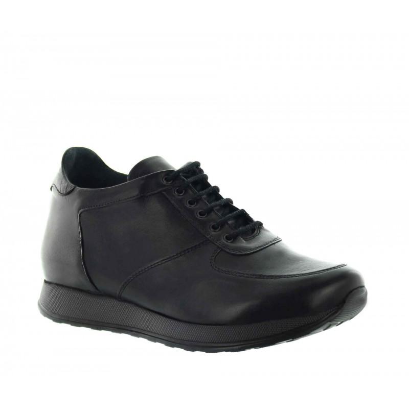 sneaker a talon compensé Homme - Noir - Cuir - +7 CM - Vellano - Mario Bertulli