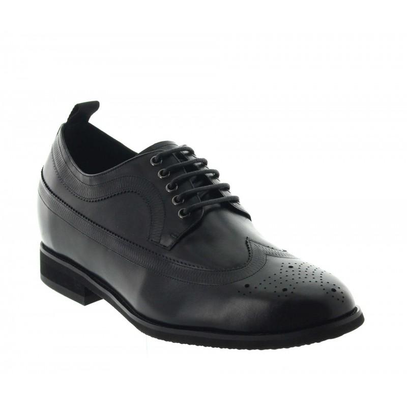 chaussures derby compensées Homme - Noir - Cuir - +7,5 CM - Gargano - Mario Bertulli