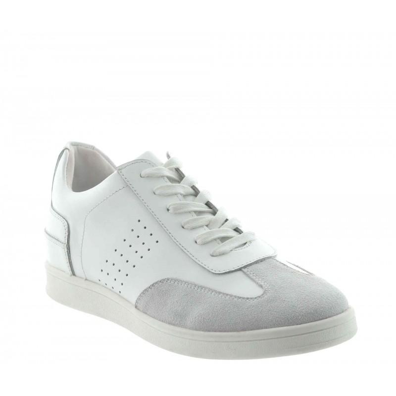 sneaker a talon compensé Homme - Blanc - Cuir - +6 CM - Defensola - Mario Bertulli