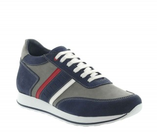 Siponto Sneakers Rehaussantes Bleu/Gris +7cm