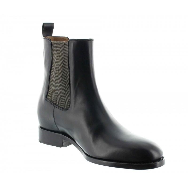bottes compensées Homme - Noir - Cuir de veau pleine fleur - +6 CM - Foggia - Mario Bertulli