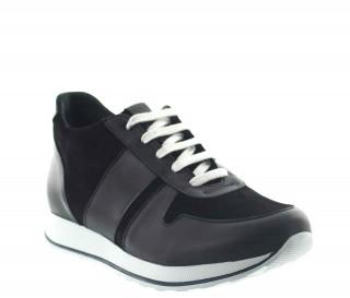 sneaker a talon compensé Homme - Noir - Cuir/Daim - +7 CM - Pomarolo - Mario Bertulli