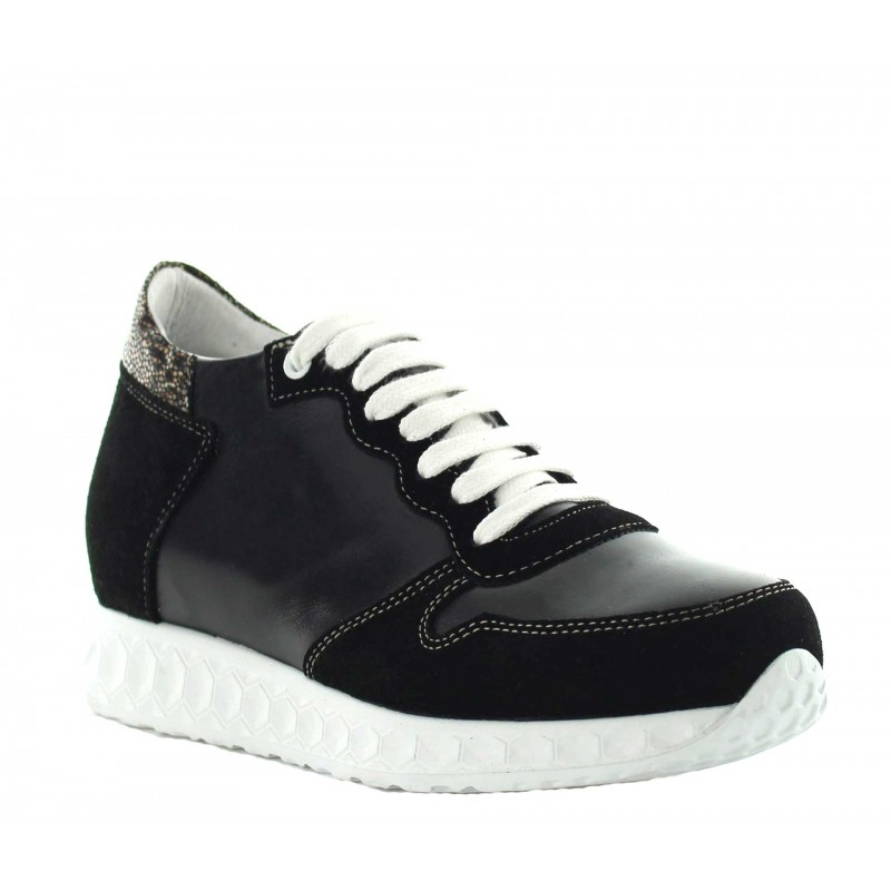 Sneakers rehaussantes Lara - Noir +7cm