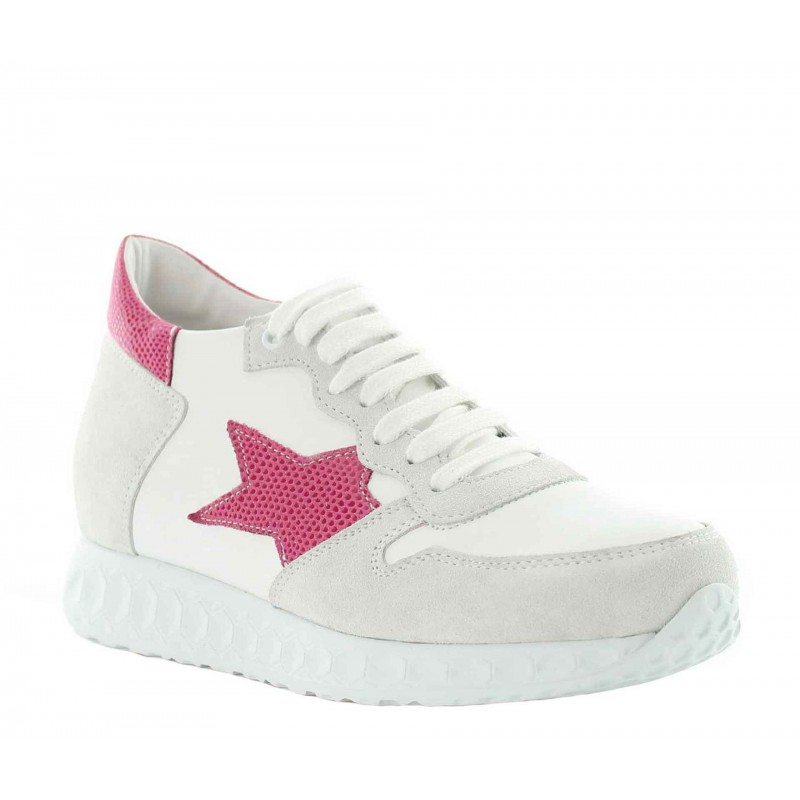 Sneakers rehaussantes Aria - Blanc/rose +7cm