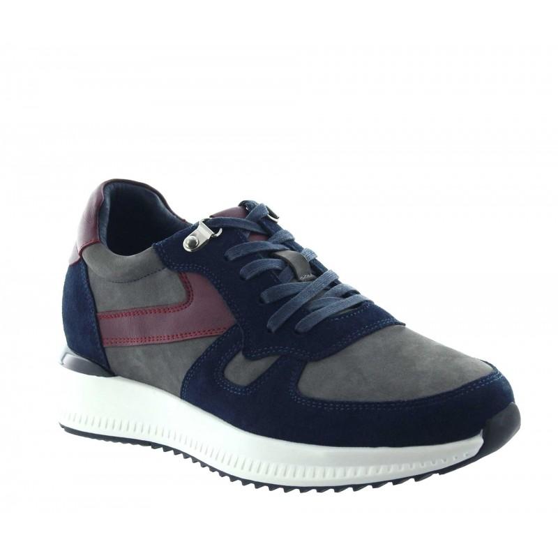 sneaker a talon compensé Homme - Bleu - Nubuck / Cuir - +7,5 CM - Montisi - Mario Bertulli