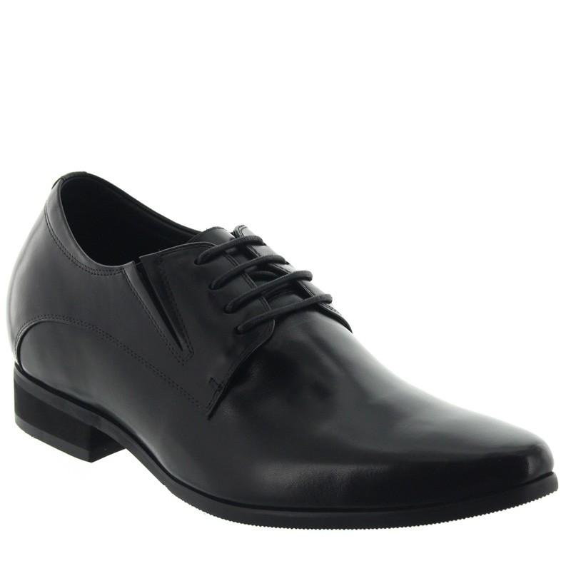 chaussures derby compensées Homme - Noir - Cuir - +7,5 CM - Arona - Mario Bertulli