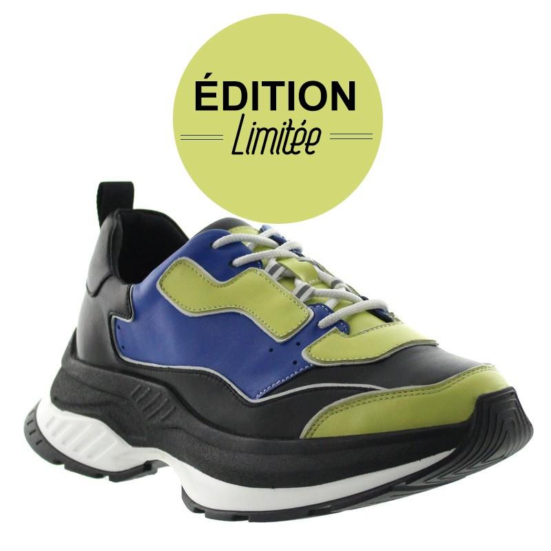 Sneakers Rehaussantes Luni bleu/vert +7cm