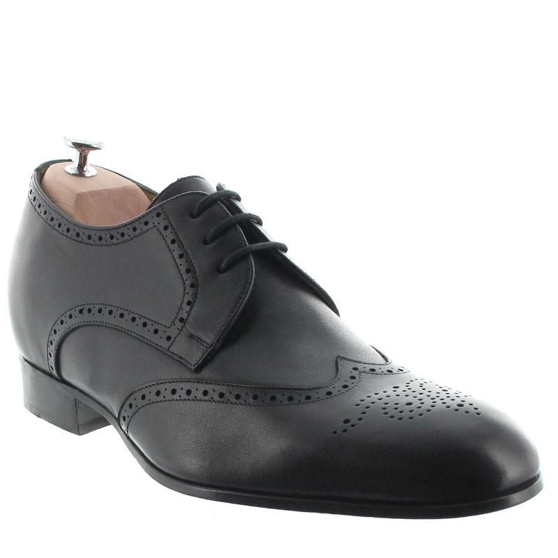 chaussures derby compensées Homme - Noir - Cuir de veau pleine fleur - +6 CM - Burano - Mario Bertulli