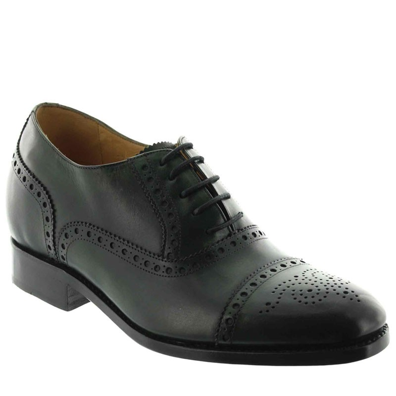 chaussures richelieu compensées Homme - Vert - Cuir de veau pleine fleur - +6 CM - Stefano - Mario Bertulli