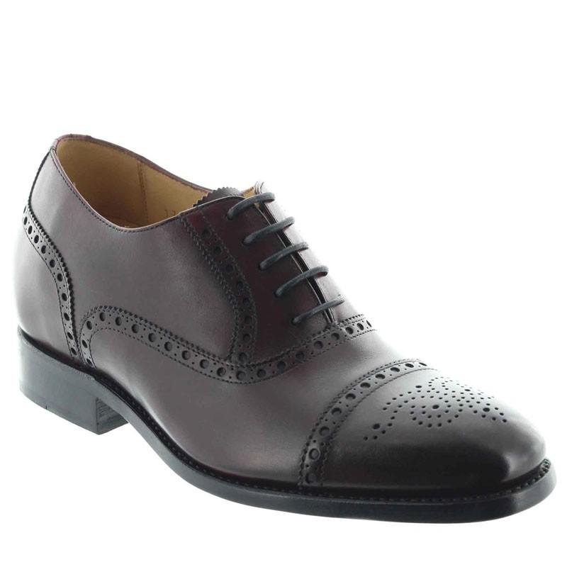 chaussures richelieu compensées Homme - Bordeaux - Cuir de veau pleine fleur - +6 CM - Stefano - Mario Bertulli