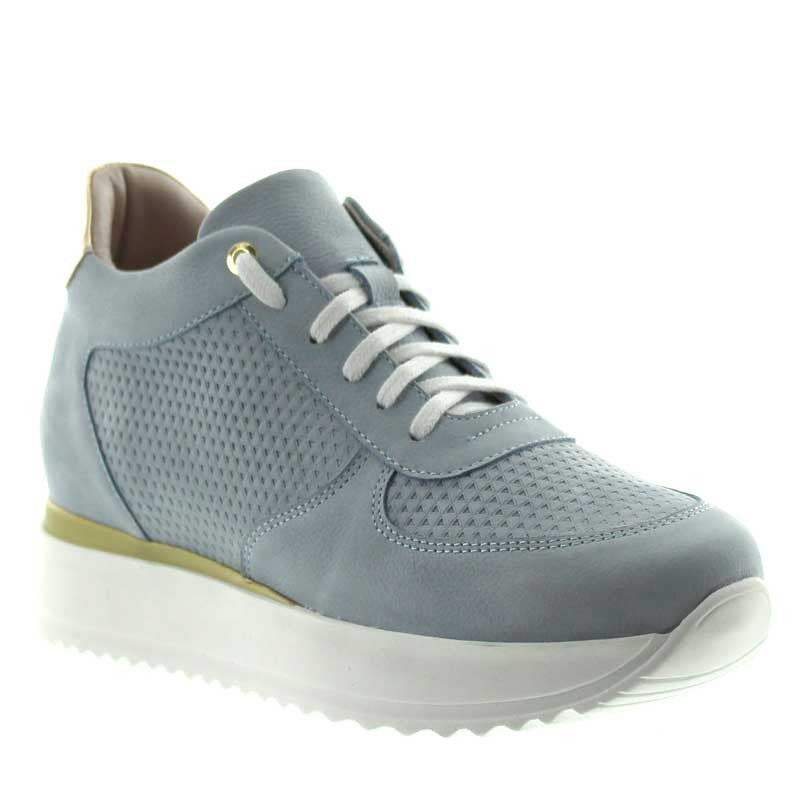 Sneakers rehaussantes femme Livia - Bleu ciel +7cm