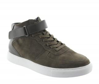 Sneakers rehaussantes Olivetta nubuck kaki +5cm