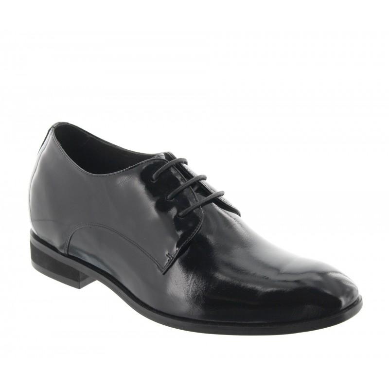 chaussures derby compensées Homme - Noir vernis - Cuir - +7 CM - Noto - Mario Bertulli