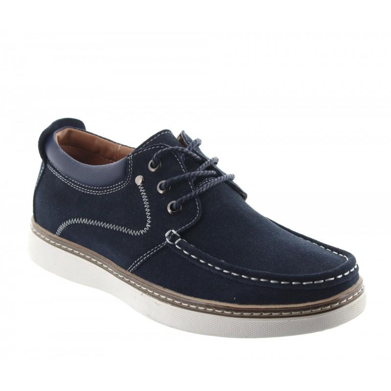 chaussures bateau rehaussantes Homme - Bleu - Nubuck - +5,5 CM - Pistoia - Mario Bertulli