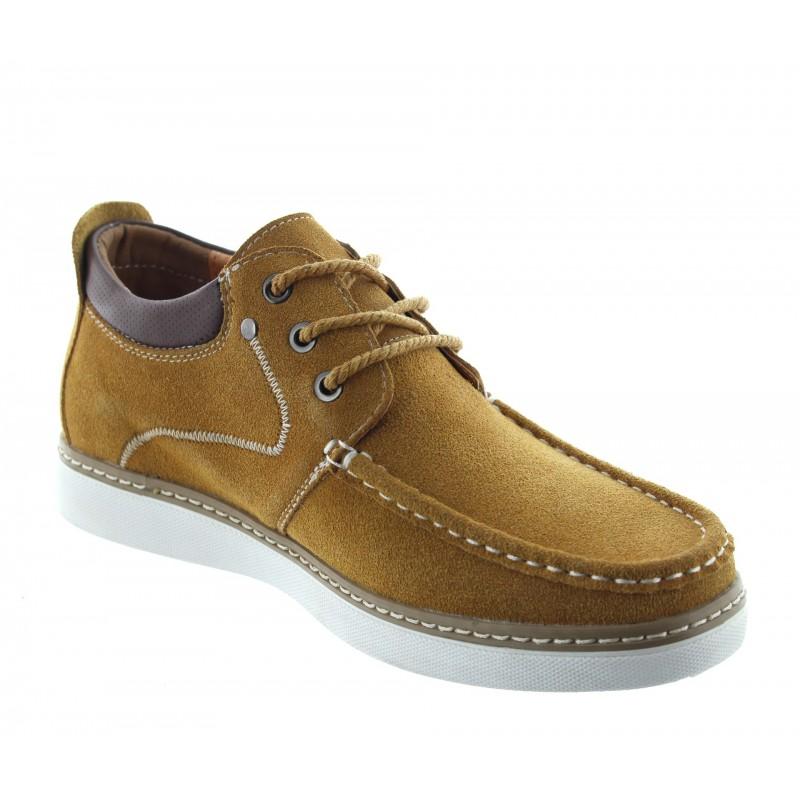 chaussures bateau rehaussantes Homme - Cognac - Nubuck - +5,5 CM - Pistoia - Mario Bertulli