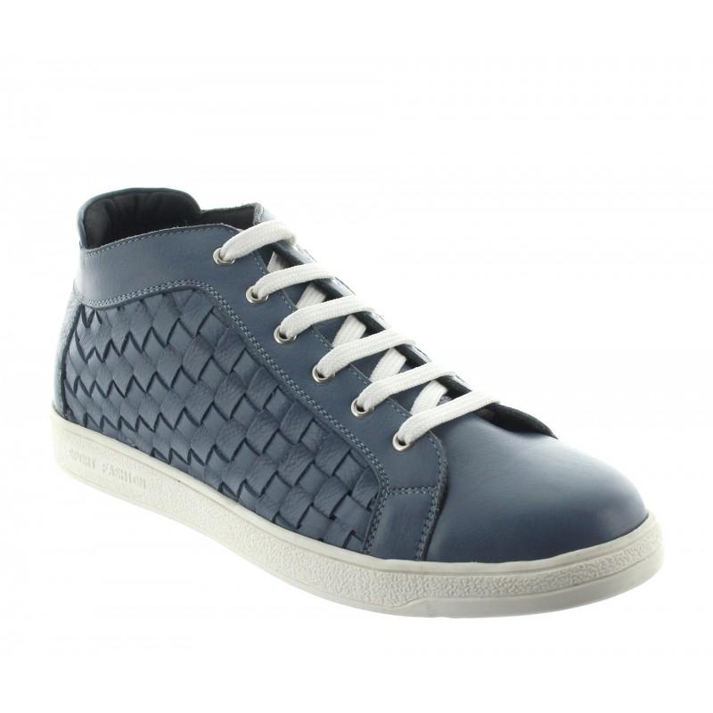 sneaker a talon compensé Homme - Bleu - Cuir - +5,5 CM - Sassello  - Mario Bertulli