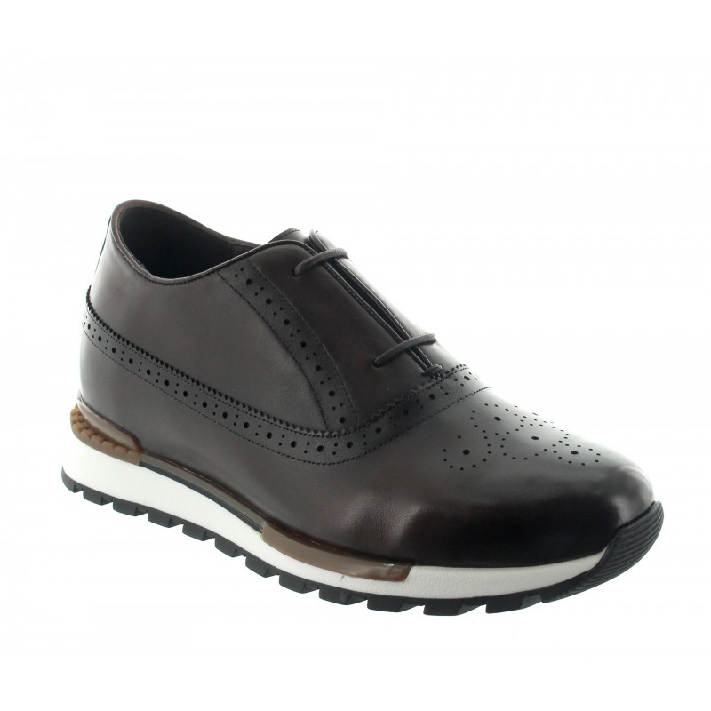 sneaker a talon compensé Homme - Marron - Cuir - +6,5 CM - Agerola - Mario Bertulli