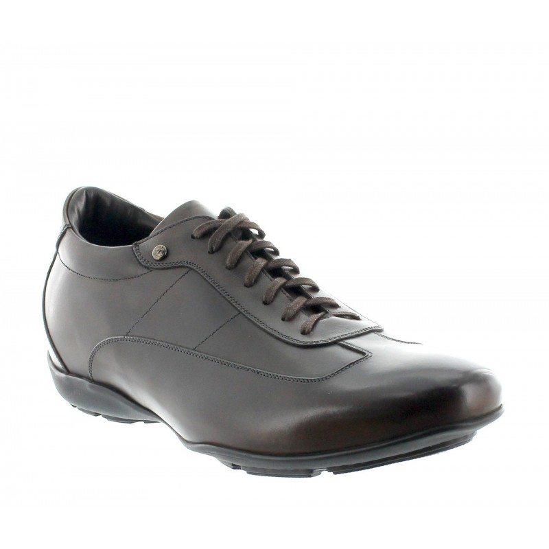 sneaker a talon compensé Homme - Chocolat - Cuir de veau pleine fleur - +5 CM - Arezzo - Mario Bertulli