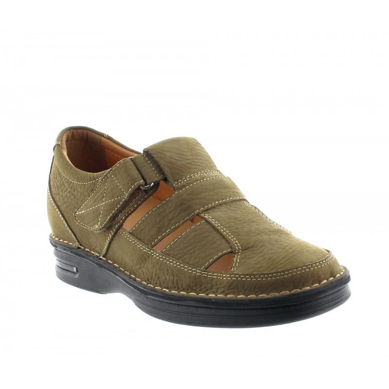 sandales compensées Homme - Kaki - Cuir velours - +7 CM - Cosenza - Mario Bertulli