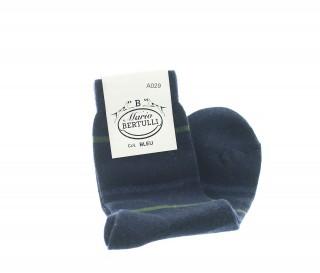 Chaussettes rayees laine et cachemire  bleu fonce