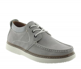 Achetez ce modèle bateau Pistoia gris clair en nubuck qui augmente la taille des hommes de 5,5cm - Chaussure vue d'extérieur