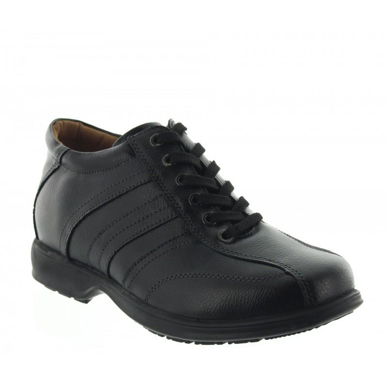 chaussures derby compensées Homme - Noir - Cuir - +7 CM - Carrara - Mario Bertulli