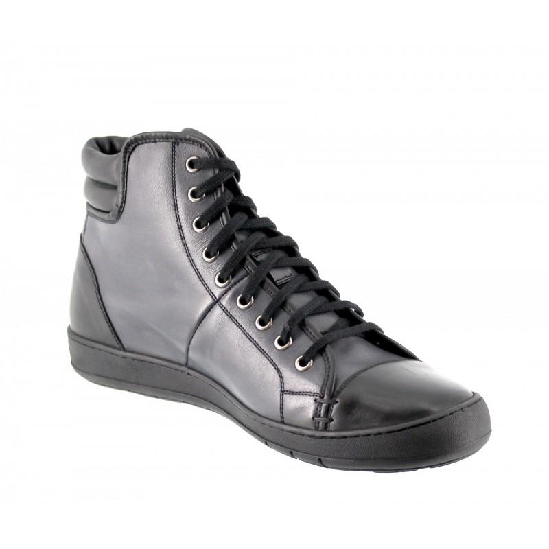 sneaker a talon compensé Homme - Noir - Cuir de veau pleine fleur - +6 CM - Toronto - Mario Bertulli