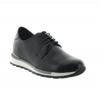 Achetez ce modèle sneaker Legri noir en cuir qui augmente la taille des hommes de 7 cm - Chaussure vue d'extérieur