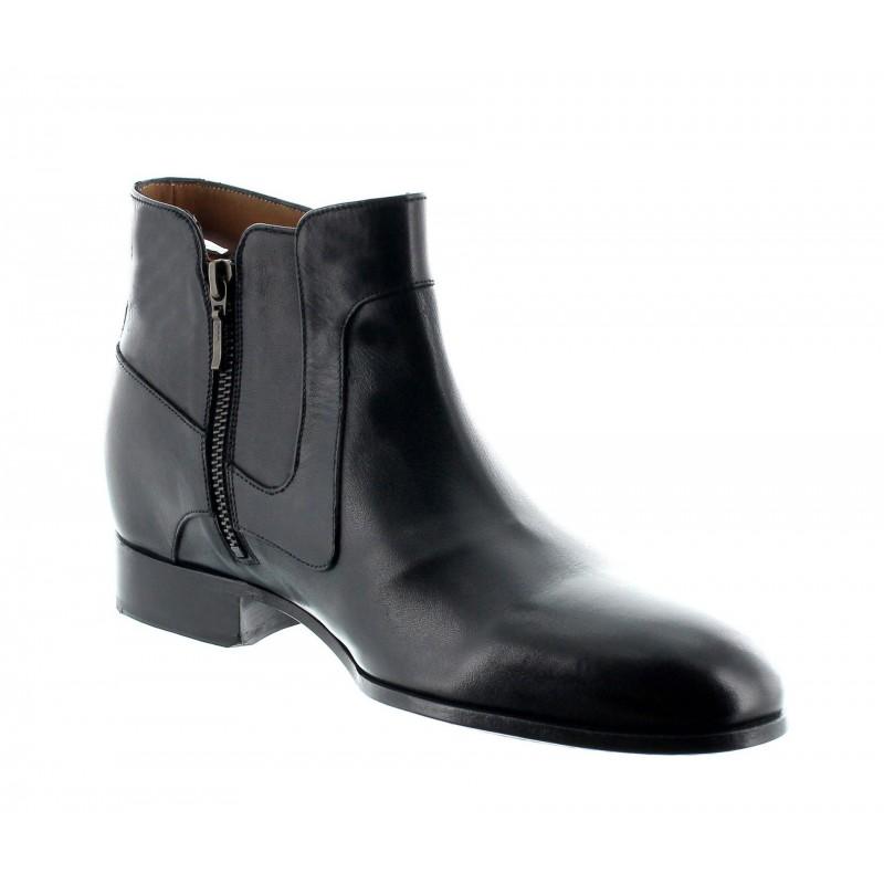 bottes compensées Homme - Noir - Cuir de veau pleine fleur - +6 CM - Velletri - Mario Bertulli