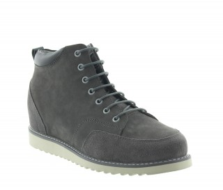 sneaker a talon compensé Homme - Gris clair - Nubuck - +7,5 CM - Petroio - Mario Bertulli