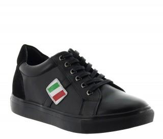 sportiva italiana rialzante Uomo - Nero - Pelle - +5 CM - Rocchetta - Mario Bertulli