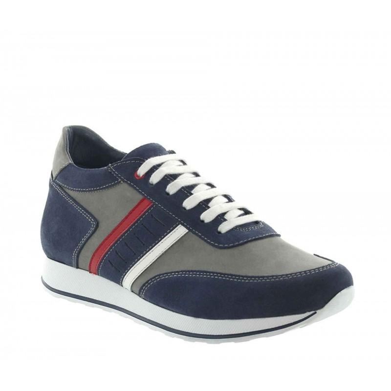 sneaker con tacco rialzato Uomo - Blu - Daino - +7 CM - Siponto - Mario Bertulli