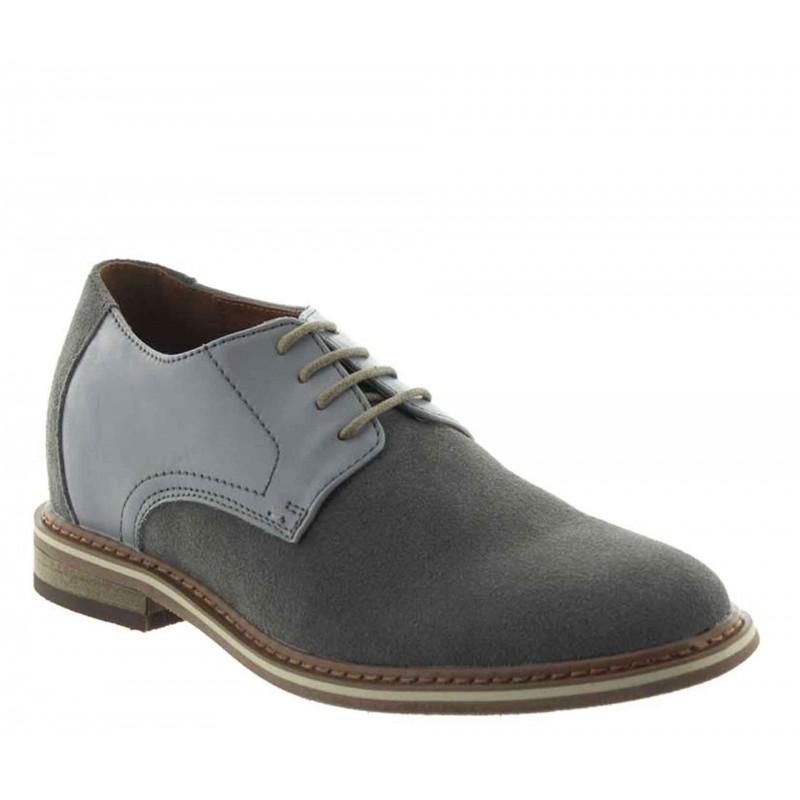 scarpe richelieu zeppa Uomo - Grigio chiaro - Nubuck / Pelle - +6 CM - Trabia - Mario Bertulli