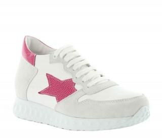 Sneakers rialzanti donna Aria - Bianco/rosa +7cm