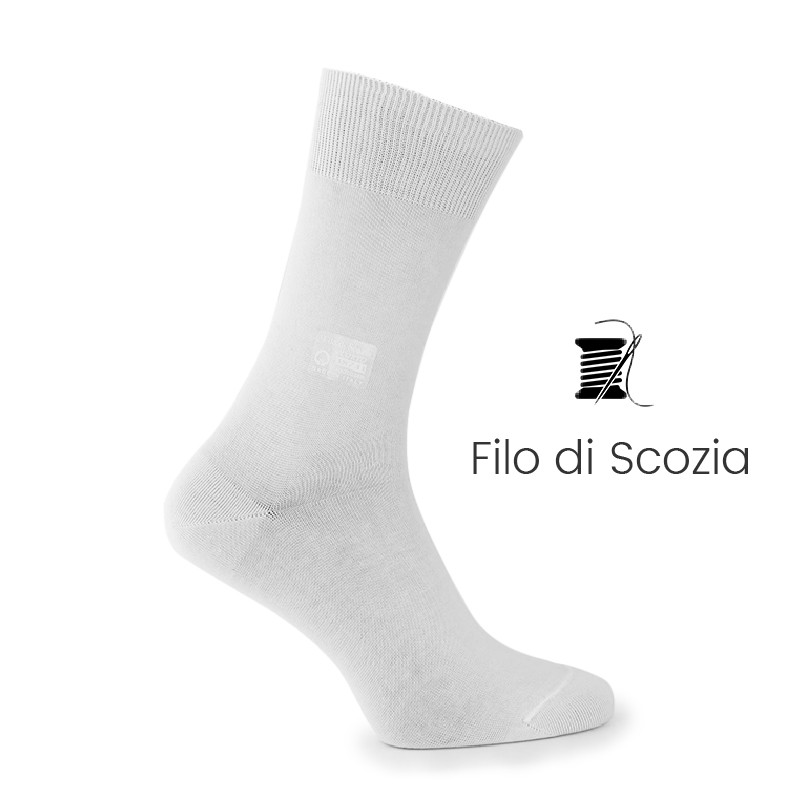 Calze filo di scozia bianco - calze filo di Scozia Uomo - Mario Bertulli specialista della scarpa rialzante