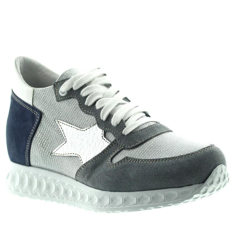 Sneaker rialzante Perla - blu/argento +7cm