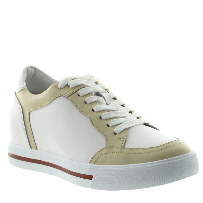 Sneakers Camporosso Bianco/Beige +6cm