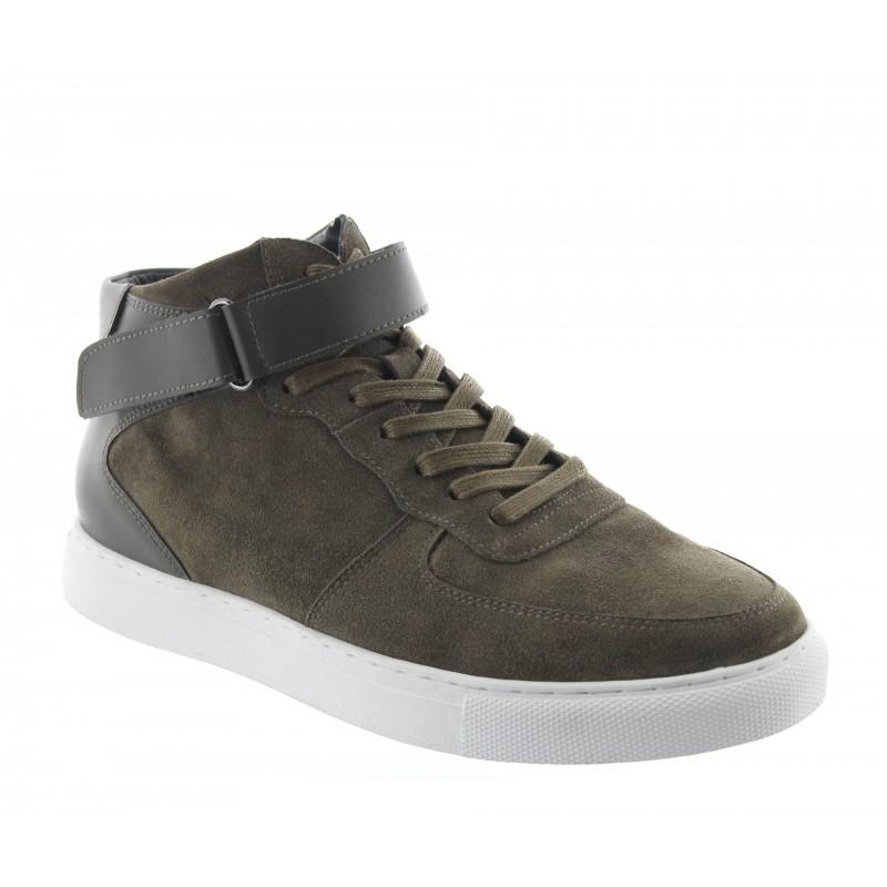 sneaker con tacco rialzato Uomo - Kaki - Nubuck / Pelle - +5 CM - Olivetta - Mario Bertulli