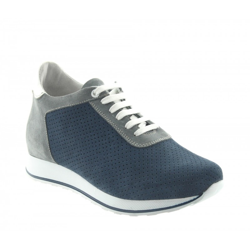sneaker con tacco rialzato Uomo - Blu - Daino - +7 CM - Gabbro - Mario Bertulli