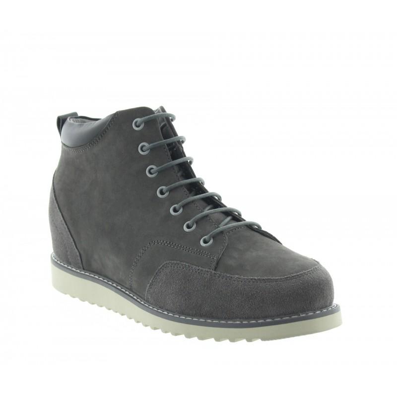 sneaker con tacco rialzato Uomo - Grigio chiaro - Nubuck - +7,5 CM - Petroio - Mario Bertulli