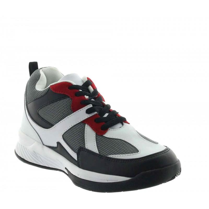 Włoskie buty podwyższające Mężczyzna - Biały - Skórzane/siatkowe  - +7 CM - Lesina - Mario Bertulli