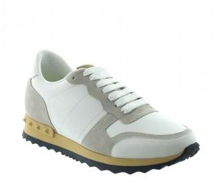 Menaio Sneakersy Podwyższające Biało-Beżowe +7cm